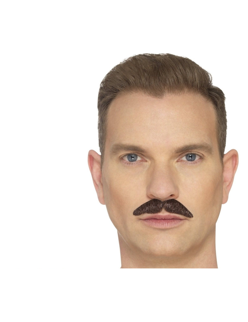 The Professional False fake hand knotted theatrical mens moustache brown  Smiffys 49645