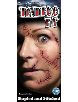 Trauma stitches temporary  tattoos Tinsley Transfers TR-106