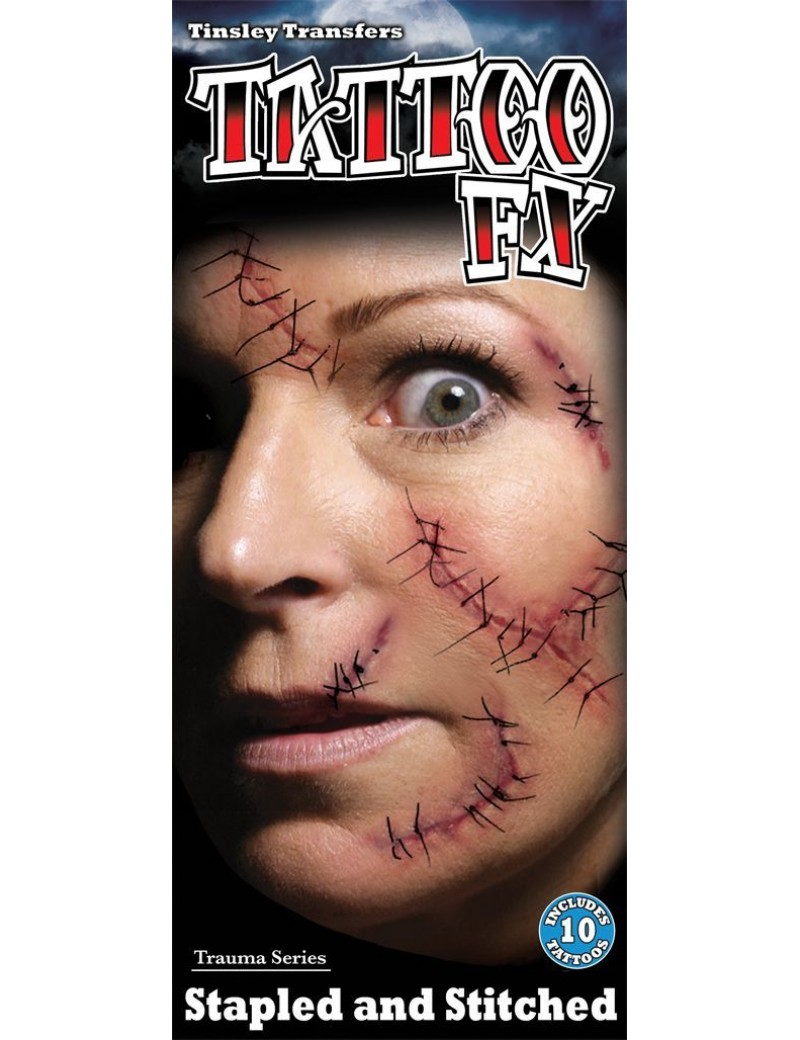 Trauma stitches temporary  tattoos Tinsley Transfers TR-106