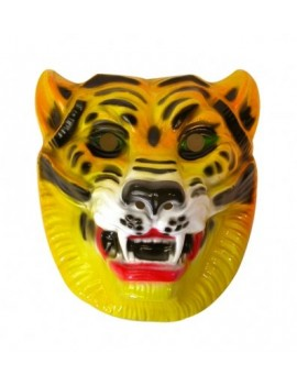Tiger mask elasticated plastic jungle fancy dress costume party Pams Of Gainsborough 19216