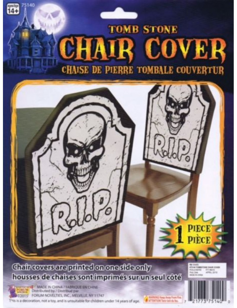 Tombstone RIP Skull fancy dress costume Halloween dinner party chair cover Bristol Novelty X75140