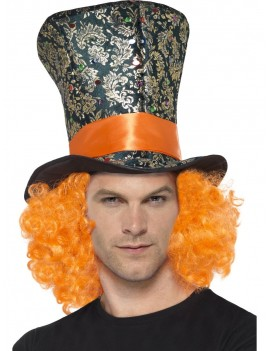 Top hat Mad hatter with hair fancy dress costume book day tea party accessory Smiffys 45216