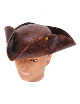 Tricorn pirate brown ancient look style hat Bristol Novelty BH558