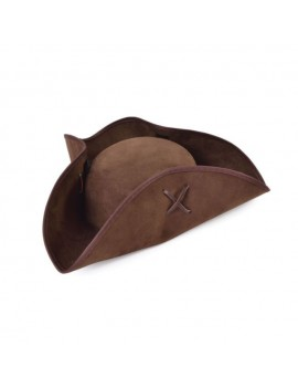 Tricorn pirate brown suede effect style hat Bristol Novelty BH656