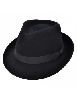 Trilby 100% Wool Crushable gangster 1920s  theatrical mens Premium Quality hat black TY303BLK
