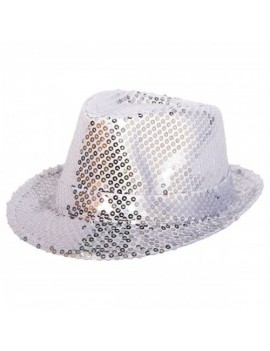 Silver Sequin Trilby Hat