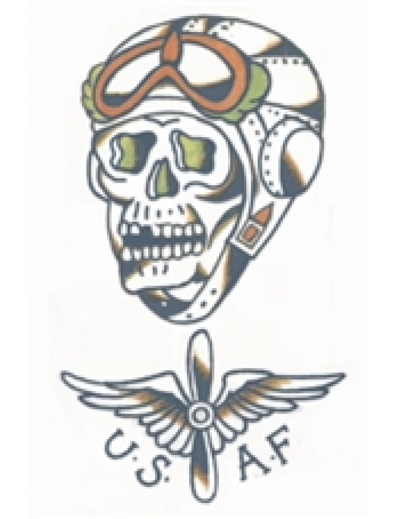 Military USAF skull temporary tattoo Tinsley Transfers
