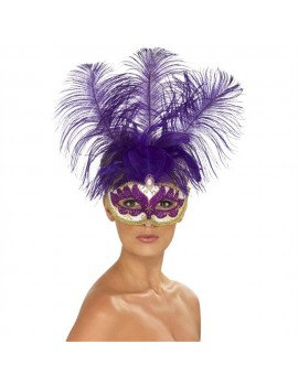 Eyemask Venetian Can Can Beauty With Feather Purple Smiffys 40020