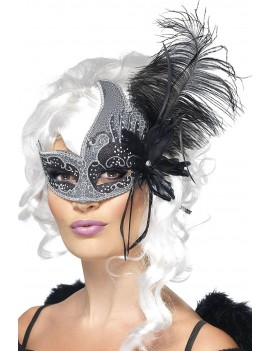 Venetian Dark Angel glitter eye mask Silver Black  Georgian Masquerade Ball accessory  Smiffys 27856
