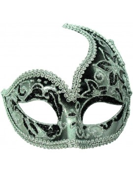 Venetian deluxe black silver ladies headband masquerade ball fancy dress costume party mask Bristol Novelty EM403