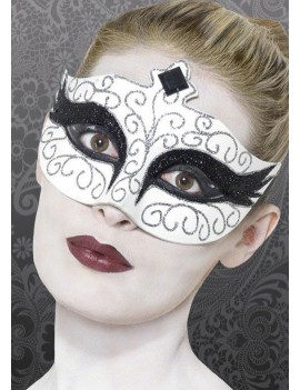 Eyemask Venetian Gothic Swan Black And White Smiffys 27318