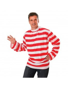 Wally red and white fancy dress book day party costume striped shirt Bristol Novelty AC175