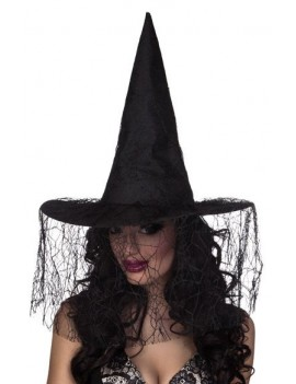 Seda Witch Hat Black Spiderweb Lace