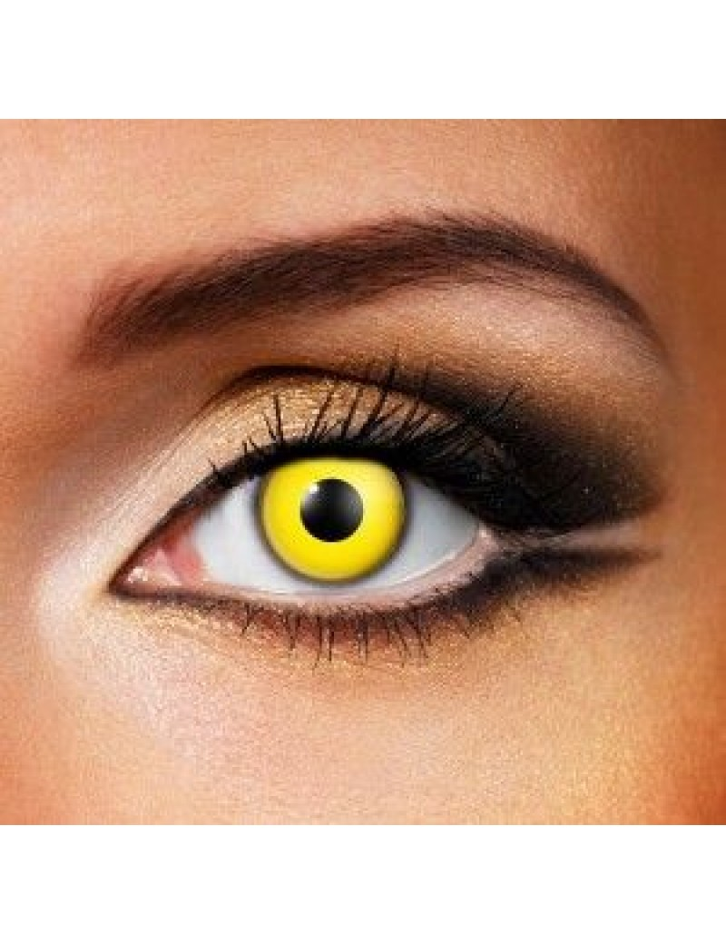 Yellow fancy dress costume party fashion theatrical 90 days Halloween eye accessories contact lenses Funky Vision 80201