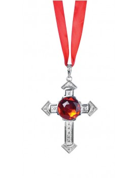 Cross Necklace with large red stone Bristol Novelty BA328